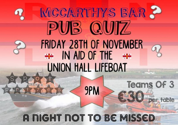 2014-11-28 Table Quiz - McCarthy's Bar - Friday 28th Nov - in aid of the Union Hall Lifeboat