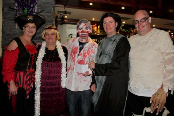 Before we share the uplifting news of the presentation of not just one but two substantial cheques to the richly deserving cause last night in the Wallis Arms Hotel we look back at the superb Fancy Dress Party on Saturday, 25th Oct. 2014.  Click on the images to enlarge.  (S.R.)