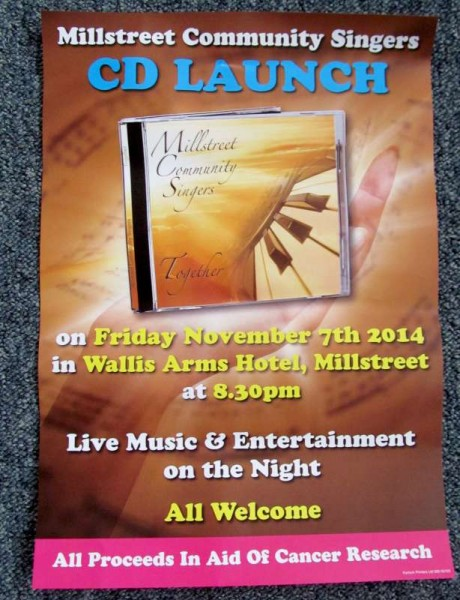 The superbly talented Millstreet Community Singers have been dedicatedly preparing for the official launch this Friday night in the Wallis Arms Hotel, Millstreet of their much anticipated Audio CD under the wonderful direction of Marie Twomey and under the recording expertise of Neil Moylan and Leo Fitzgerald in their state-of-the-art Studios.  Click on the images to enlarge.  (S.R.)
