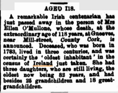 1901-09-27 Aged 118 - Ireland's oldest woman - Ellen O'Mullone, Gneeves