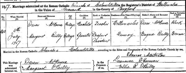 1917-07-11-marriage-of-owen-mckenna-and-margaret-oreilly