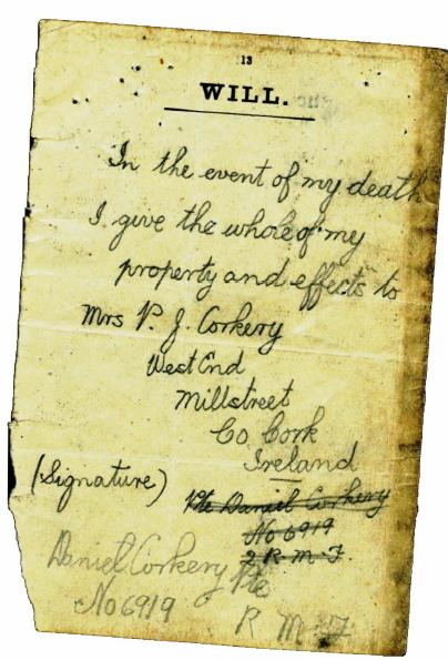 1918 The last will of Daniel Corkery PTE 6919, 2nd Royal Munster Fusiliers