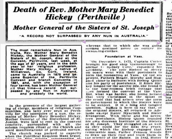 1941-08-28 - Death of Rev . Mother Mary Benedict Hickey