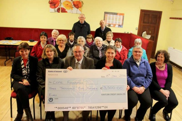 A most impressive cheque of €3,500.00 was presented to COPE Foundation on Monday night by the Dromtariffe Parents & Friends of COPE Foundation.  (Names details later).  Following two interesting addresses very welcome refreshments were served by the dedicated Coordinating Group.  Click on the image to enlarge.  (S.R.)