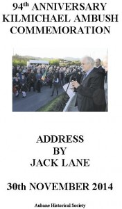 2014-12-20 Aubane Historical Society - Kilmichael Ambush Commemoration - speech by Jack Lane