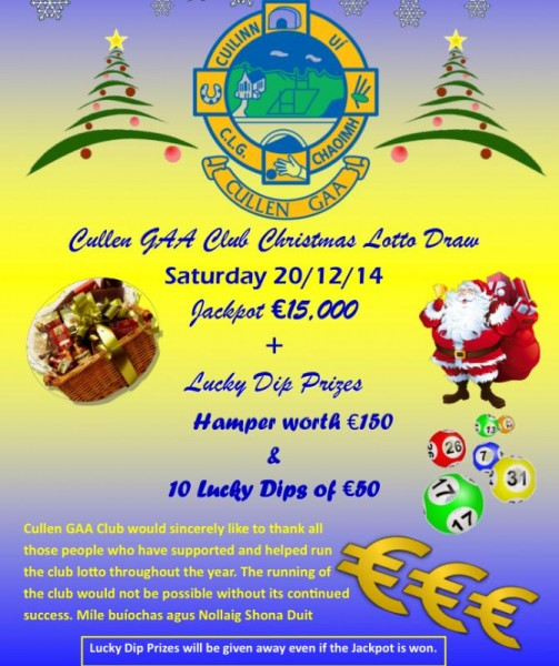 2014-12-20 Cullen GAA Christmas Lotto - poster
