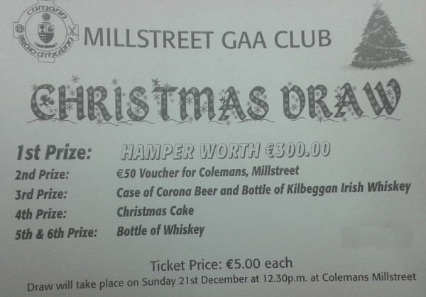 Millstreet GAA Club Christmas Draw - sample ticket