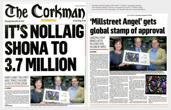 2014-12-25 The stamp of the Harry Clarke window in Millstreet Church (by Bill Power) was the full front page of the Corkman (Avondhu) for Christmas