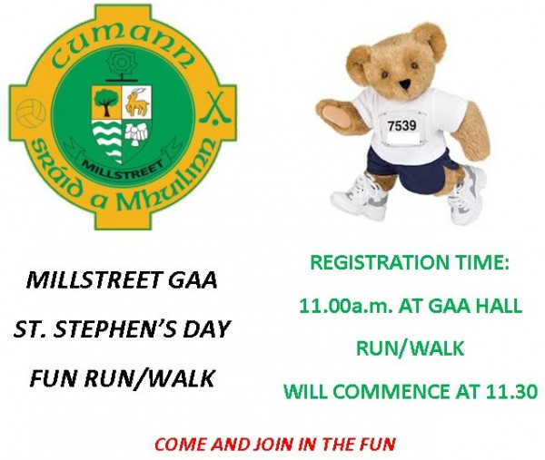 2014-12-26 Millstreet GAA - St.Stephen's Day Fun Run or Walk - poster