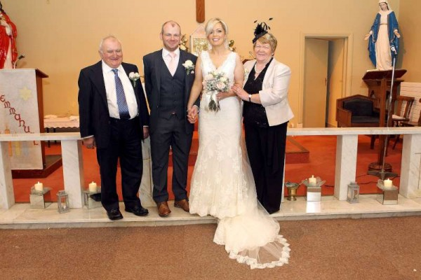 Conor's parents Denis and Noreen with Edel.