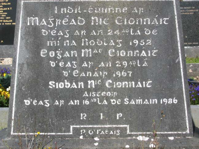 Headstone of Eoghan McKenna, his wife Margaret, and daughter Siobhán, at Rahoon Cemetery, Galway