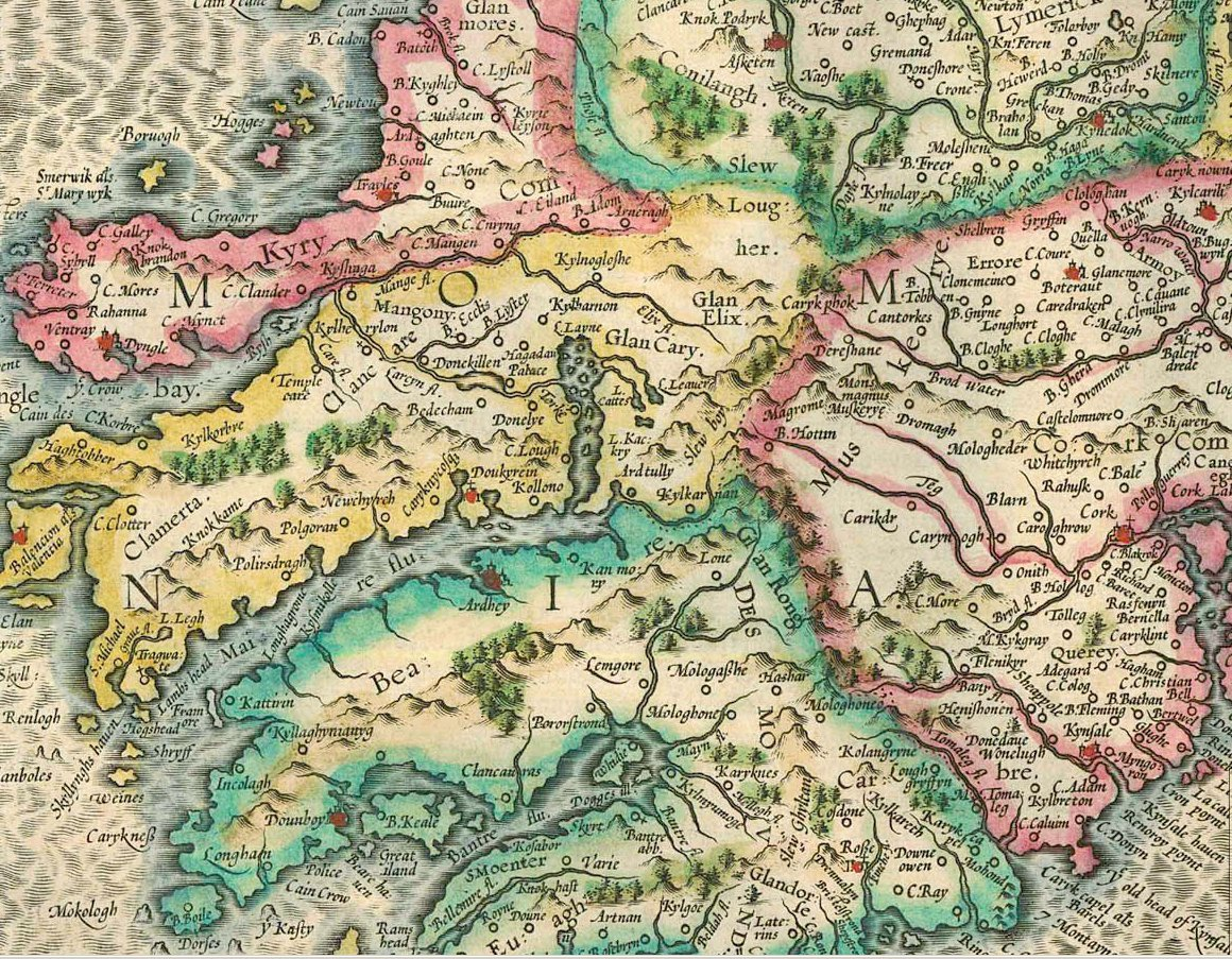 1628 Mercator and Hondius Map of Cork