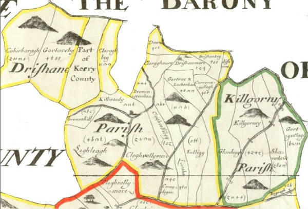 1670 Downes Survey - Parishes of Drishane and Kilcorney