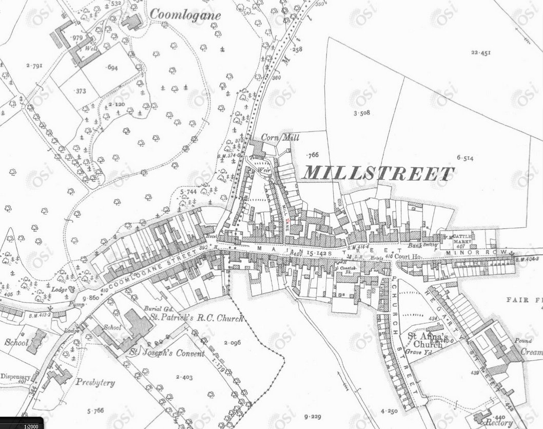 1890 Ordinance Survey Map of Millstree (12 inch)