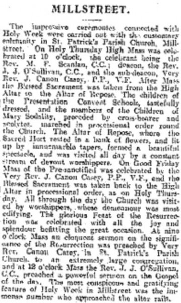 1916-04 Report on Easter Ceremonies in Millstreet