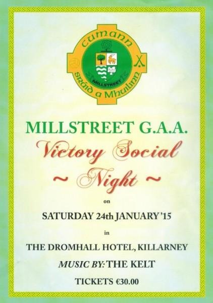 2015-01-07 Millstreet GAA Victory Social - poster