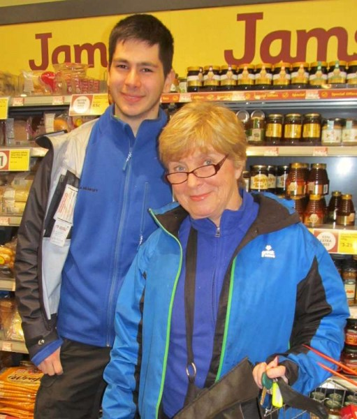 On meeting with Kathy O'Connor in Supervalu this evening (picture here with Julius Bolz from Germany who is on a work project in Sherkin and Millstreet)