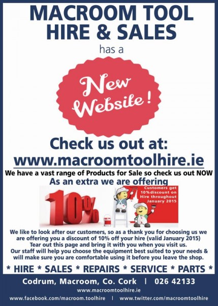 2015-01-15 Macroom Tool Hire - new website poster