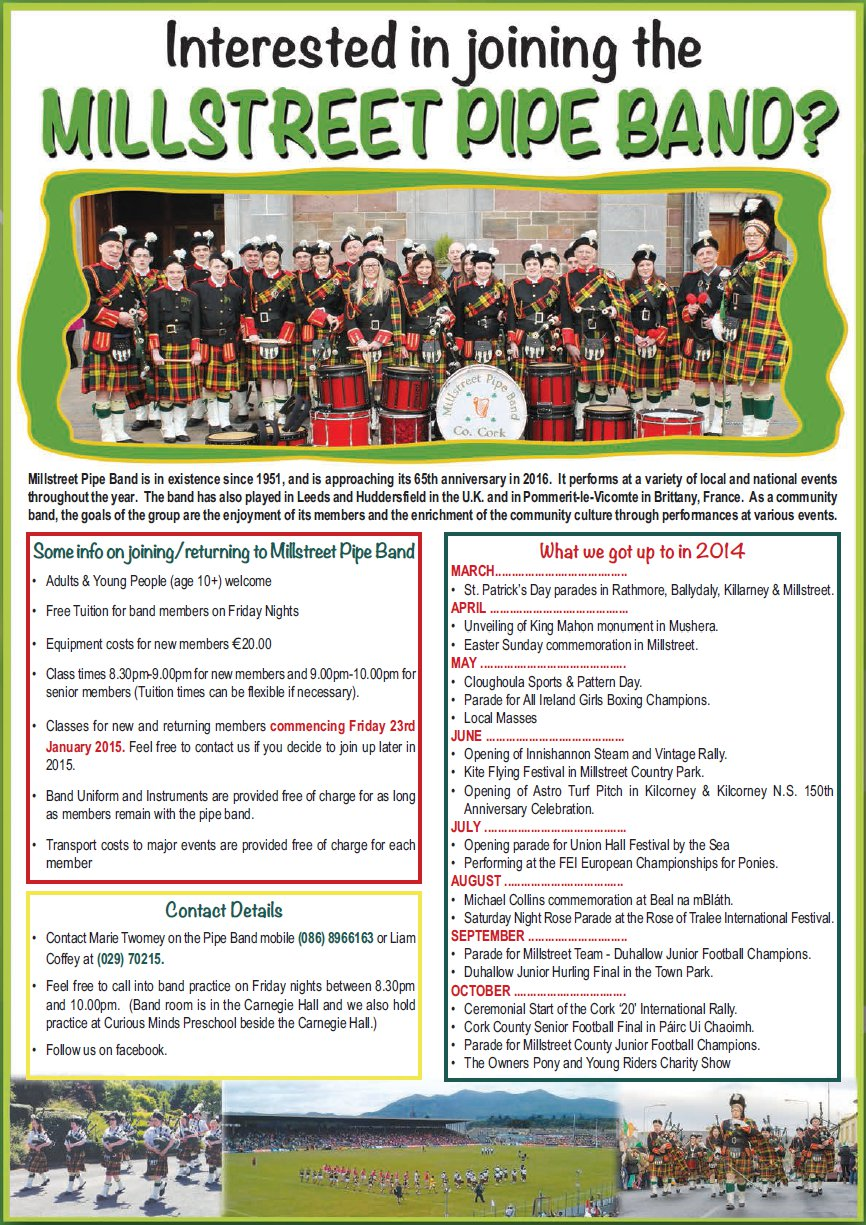 2015-01-17 Invitation to join Millstreet Pipe Band - poster