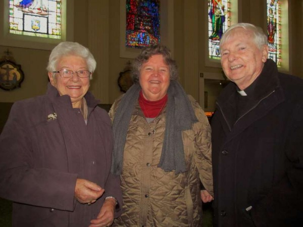 Meeting with Sr. Patricia Creedon (centre) in St. Patrick's Church, Millstreet this Thursday morning - Eily Buckley and Fr. Paddy O'Byrne who had celebrated the 10.00 a.m. Mass.  (S.R.)