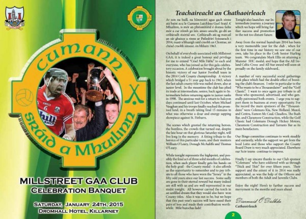 2015-01-24 Souvenir Booklet from Millsteeet GAA Celebration