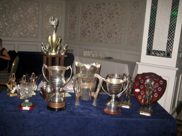 Some of the many trophies and awards on display