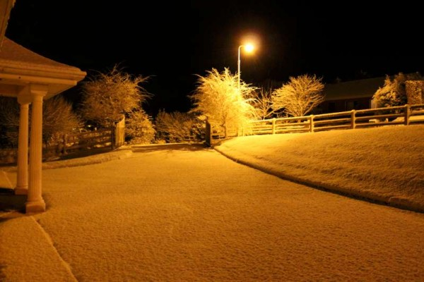 The scene at Mount Leader, Millstreet on Tuesday night as  a banket of snow transforms the setting.  Click on the images to enlarge.  (S.R.)