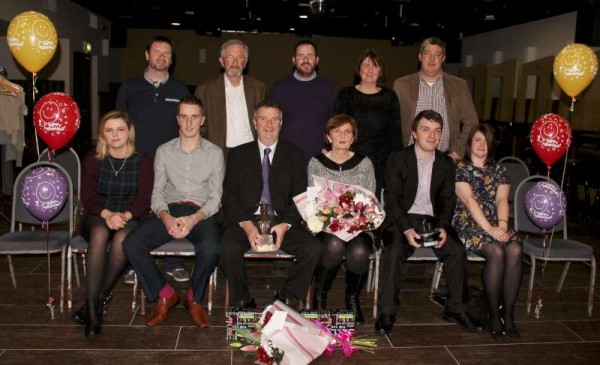 Pictured with his wife, Anne and extended Family, Sgt.  Paul O'Donovan was accorded much richly deserved praise at the Wallis Arms Hotel on Thursday, 2th Jan. 2015 at his Retirement Party.   Sgt. Paul's superbly dedicated career in the Gardaí began in 1982 and ends today on 10th Jan. 2015.  Here we share a selection of images recording some of the many presentations made to Sgt. Paul.   Click on the pictures to enlarge.  (S.R.)