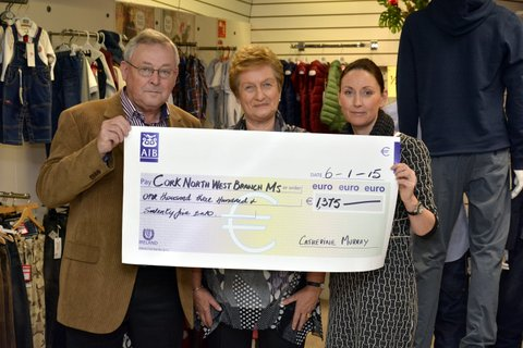 Donal & Maura Murphy of Newmarket recently  accepting a very impressive cheque from Catherine (extreme right) in Charleville on behalf of the Cork North West Branch of MS Ireland.