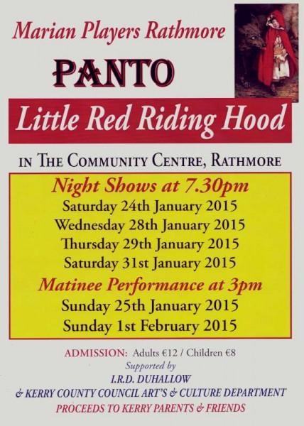 "On Monday night we visited Rathmore Community Centre where the Marian Players were making final preparations for the Saturday night's official opening of this year's superb Pantomime ""Little Red Riding Hood"".  Here we share just some of the very colourful moments from the preparations.  Click on the images to enlarge.  (S.R.)"