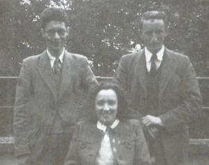 Garrett Hickey, Rita Hickey & Joe Garvey c. 1947 Coláiste Pádraig on the Carnegie Hall balcony
