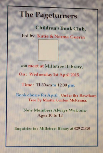 We thanks Breda at Millstreet Library for both Posters.  Click on the images to enlarge.  (S.R.)