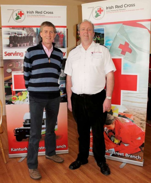 Coordinators of the excellent Course - from left - Mike Riordan, Outreach Worker with K.A.S.I. (Killarney Asylum Seekers Initiative) and Gerard McAuliffe of Kanturk-Millstreet Red Cross who was the Instructor on the beneficial Course.