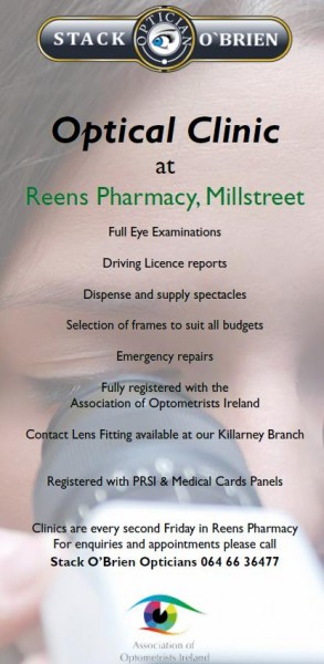 2015-03-12 Stack O'Brien Opticians - at Reen's Pharmacy - poster