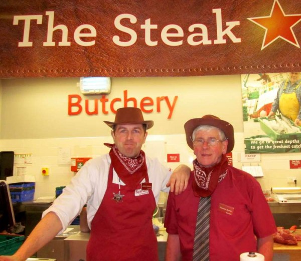 John Lehane and Tommy Burke in real Country & Western style during a recent Steak Promotion at Supervalu...Y'all come now folks!
