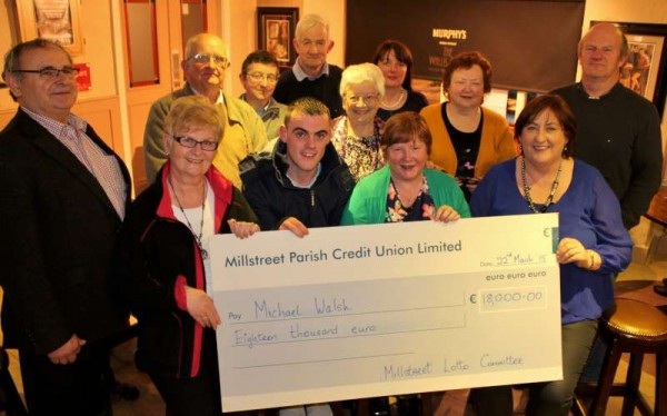 Members of Millstreet Local Lotto assembled in the Wallis Arms Hotel on Sunday, 22nd March 2015 to make the official presentation of the biggest win ever at €18,000.00 to Michael Walsh of Sally's Cross, Kanturk.   Pictured holding the most impressive cheque are (from left) Margaret Bourke, Michael Walsh (winner), Noreen Tarrant, Liscreagh, Millstreet (seller of the lucky ticket and receiving the seller's prize of €1,800.00), Marie Twomey.   Click on the images to enlarge.  (S.R.)