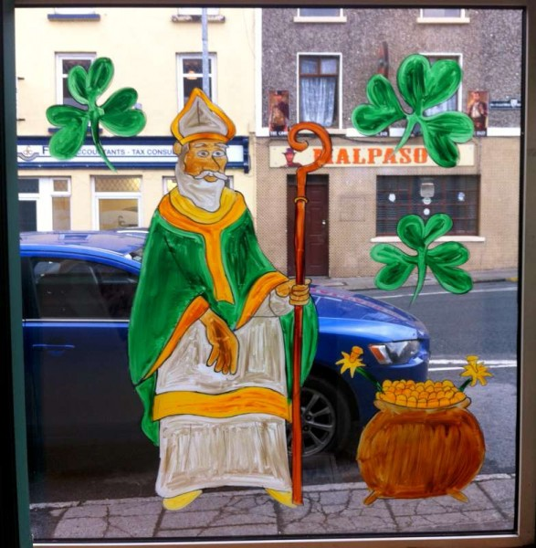 St. Patrick in Millstreet!  Artist supreme, Brian O'Leary's superb window creative art at Millstreet Post Office.  Many thanks to Margaret and Noreen at Millstreet Post Office for permitting me to record the magnificent work of art from inside the Post Office.  Click on the images to enlarge.  (S.R.)