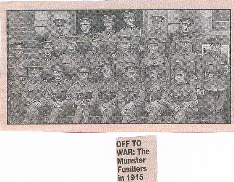 1915 - Off to War - Michael Desmond is third from left in the second row