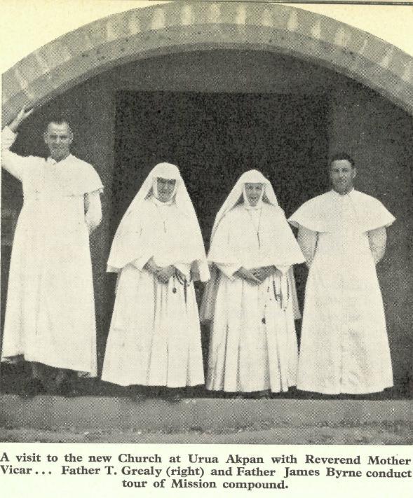 1950s Fr Jim Byrne (left) at the new church at Urua Akpan, Nigeria