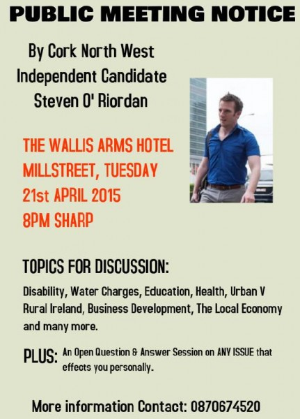 2015-04-08 Public Meeting Notice - Steven O'Riordan - Independent Candidate for the upcoming election