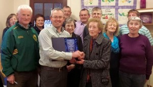 2015-04-15 Presentation was made to Kathleen Crowley this evening for service to Millstreet Tidy Town Association that has spanned over 3 decades