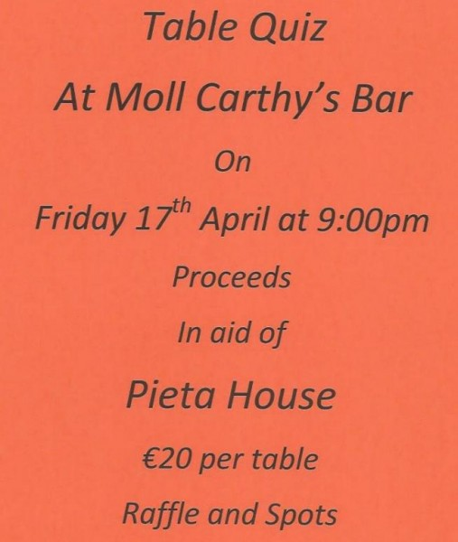 2015-04-17 Table Quiz at Moll Carthy's Bar - in aid of Pieta House - poster