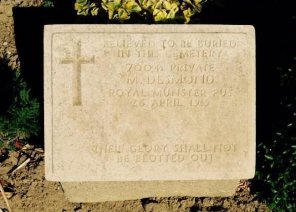 2015 Headstone for Michael Desmond at V-Beach Cemetery Gallipoli