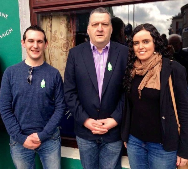 Pictured at Sunday's Easter Commemoration at The Square, Millstreet (from left) David Brosnan, Cllr. Bernard Moynihan and Deborah O'Leary.  Many thanks to John O'Leary for the picture.  Click on the image to enlarge.  (S.R.)