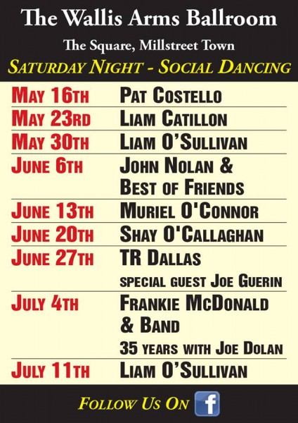 2015-05-12 Wallis Arms - Saturday Night Dancing Schedule