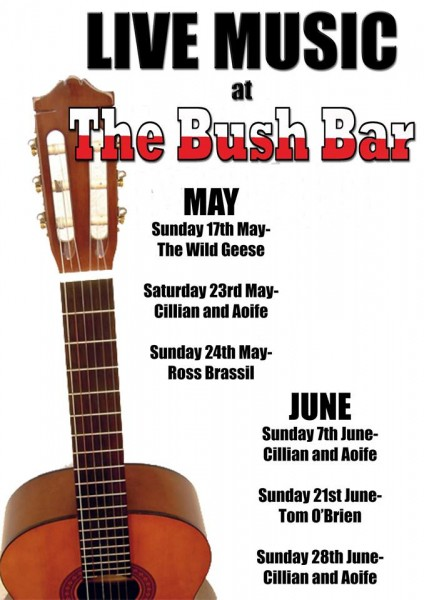 2015-05-20 Music nights at the Bush Bar - poster