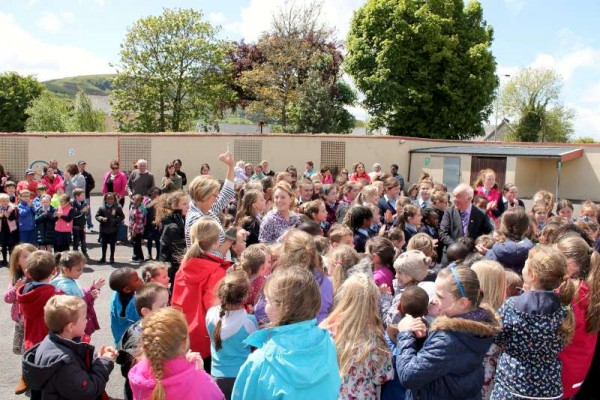 Blessed with good weather the exciting Draw for the Presentation N.S. Millstreet Fundraising Raffle Draw took place in the School Yard in the presence of a wonderfully enthusiastic gathering of children, staff and parents.  Click on the images to enlarge.  (S.R.)
