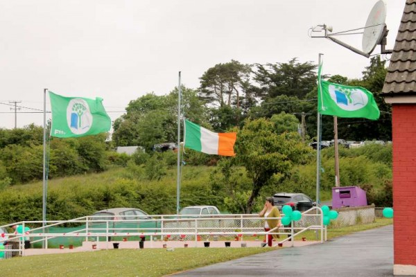 As a special mark of respect for the Young People involved in the Tragedy in California the Irish Flag was at half-mast.