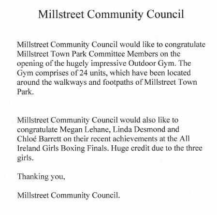 We thank Joseph Kelleher of Millstreet Community Council for this uplifting notice.  (S.R.)