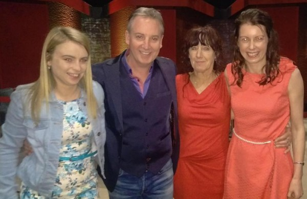 2015-07-04 Pictured with Paul Williams at Saturday Night with Miriam Show are Elaine Shine, Honor Shine and Catriona Twohig